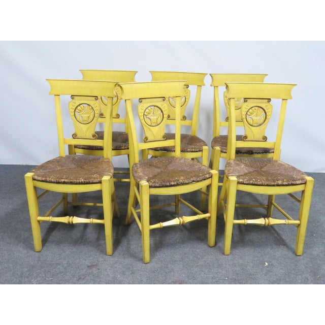 Textile French Country Carved & Painted Rush Seat Chairs - Set of 6 For Sale - Image 7 of 7