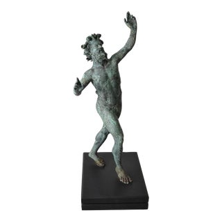 "Grand Tour Bronze of ""The Dancing Faun"" with Natural Verdigris Finish"