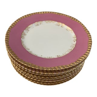 Tressemann & Vogt Limoges French Pink and Gold Porcelain Luncheon Plates- Set of 8 For Sale