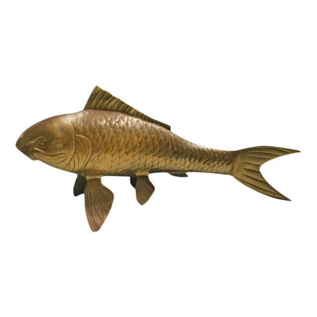 Vintage Brass Koi Fish Statue For Sale - Image 12 of 12