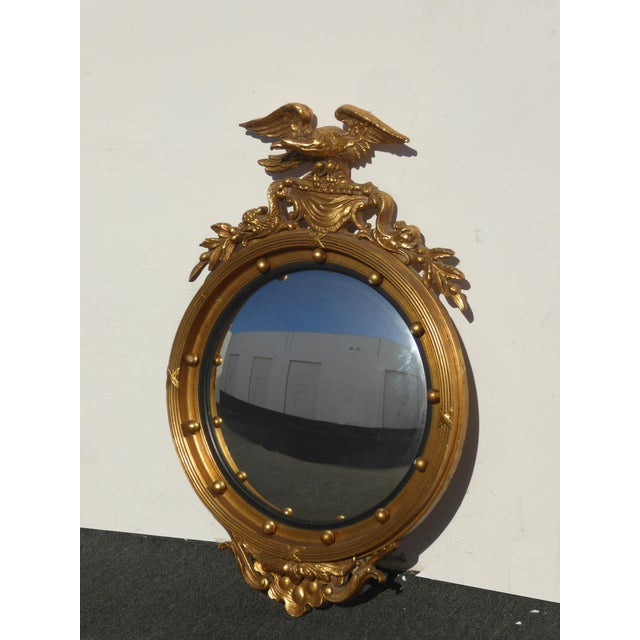 Vintage Federal Eagle Convex Bullseye Gold Wall Mantle Mirror For Sale - Image 4 of 11