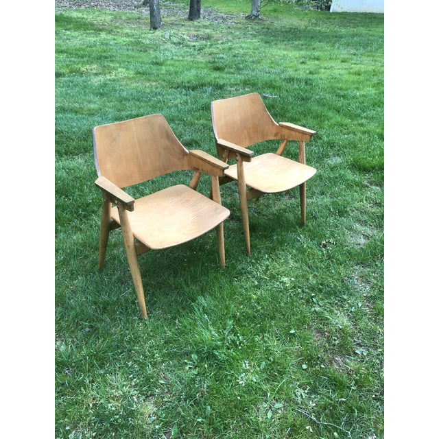 Modern Thonet Modern Bentwood Plywood Armchairs - a Pair For Sale - Image 3 of 11