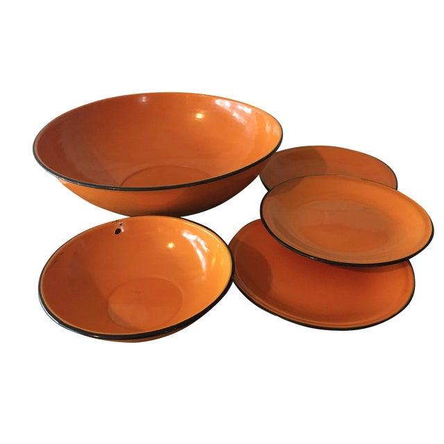 5-Piece Orange & Black Rim Enamelware - Image 1 of 8
