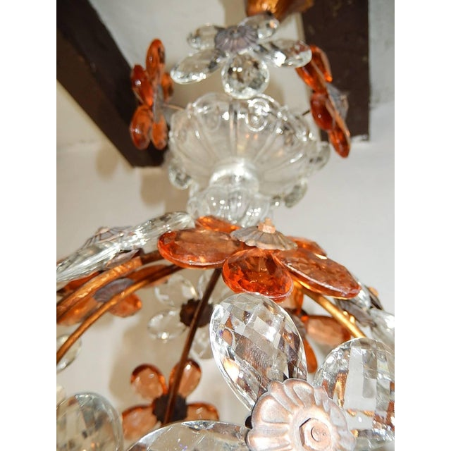 1920s Clear and Peach Crystal Flowers Maison Baguès Style Chandelier For Sale - Image 5 of 8