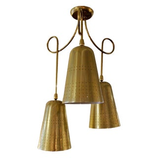 Mid-Century Modern Paavo Tynell Style Brass Perforated Chandelier Light Fixture For Sale