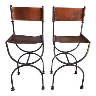 Rare Vintage Restored Hand Forged Solid Iron Campaign Safari Spanish Saddle Leather Rustic Neoclassical Bar Stools - a Pair For Sale