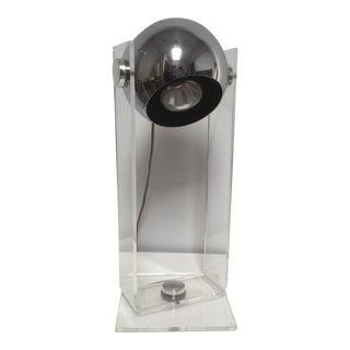 1970s Robert Sonneman Lucite and Chrome Eyeball Table Lamp For Sale