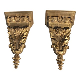 Italian Gilt Wood Corner Brackets - a Pair For Sale