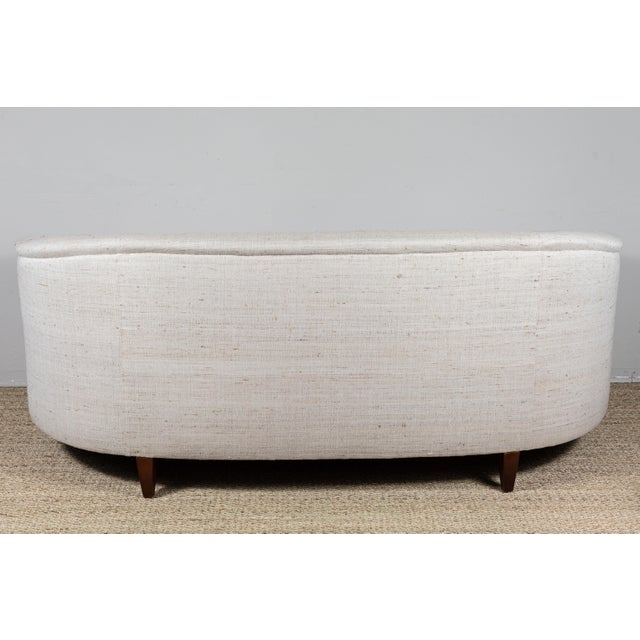 Vintage Curved Sofa With Pat McGann Workshop Upholstery Fabric For Sale - Image 9 of 11