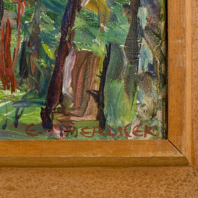 """Mid 20th Century """"Allee"""" Expressionist Style Forest Landscape Oil Painting by Elisabeth Merlicek, Framed For Sale In Philadelphia - Image 6 of 13"""