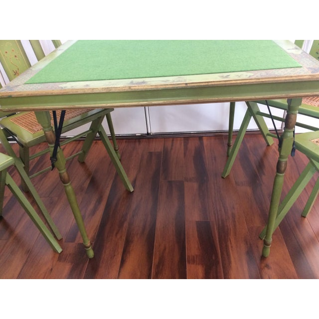 Vintage Ferguson Felt Card Table & Chairs For Sale In Tampa - Image 6 of 8