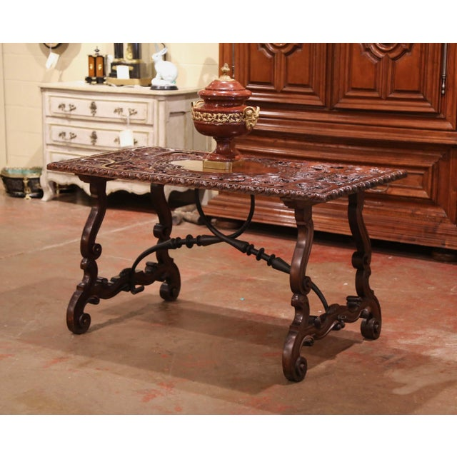 19th Century Spanish Carved Walnut and Wrought Iron Console Center Table For Sale In Dallas - Image 6 of 13