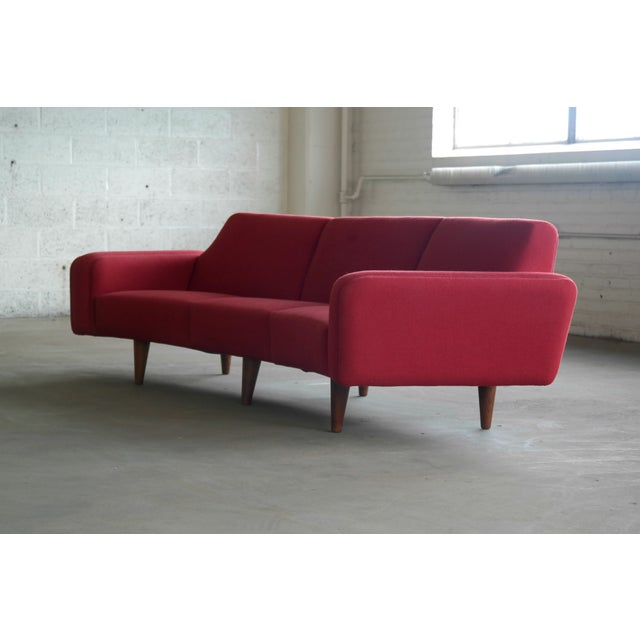 Large Danish 1960\'s Illum Wikkelso Designed Curved Sofa Model 450 for Aarhus