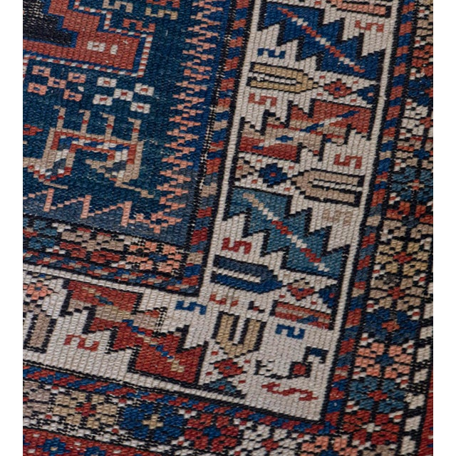 Traditional Handwoven Antique Wool Caucasian Rug For Sale - Image 3 of 8