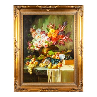 Floral Bouquet Still Life Oil Painting in Ornately Gilded Wood Carved Frame For Sale