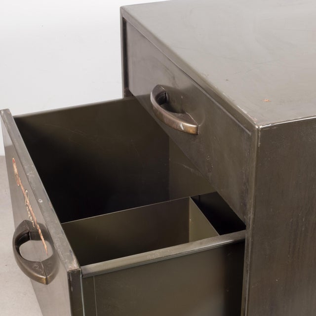 Industrial Factory Two Drawer Cabinet With Brass Pulls C.1940 For Sale - Image 4 of 10