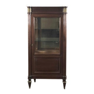 Antique French Louis XVI Marble Top Mahogany Vitrine - Curio Cabinet For Sale