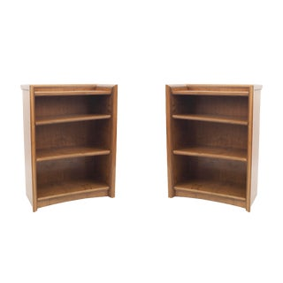 Pair of American Midcentury 1950s Maple Bookcase Cabinets For Sale