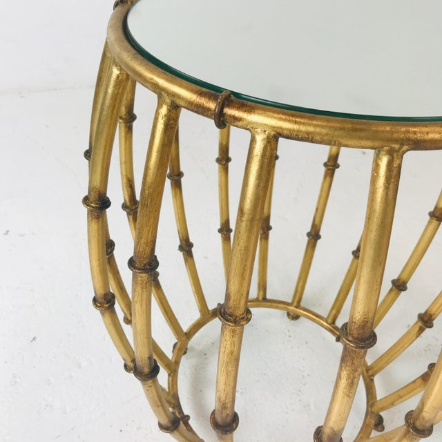 1980s Pair of Gold Faux Bamboo Drum Side Tables With Mirrored Tops For Sale - Image 5 of 12