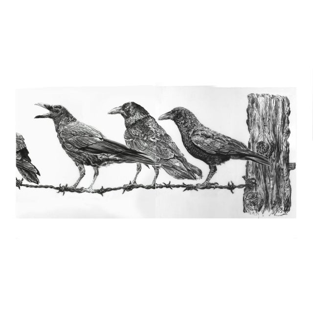 "2010s Contemporary ""Crows on Wire"" Rick Shaefer Charcoal Print For Sale - Image 5 of 5"