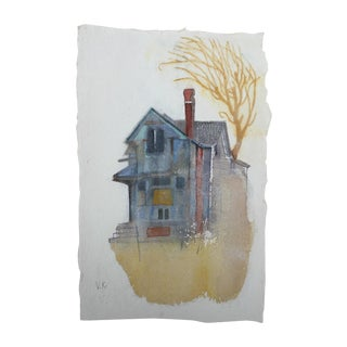 """Gray House"" Original Watercolor Painting For Sale"