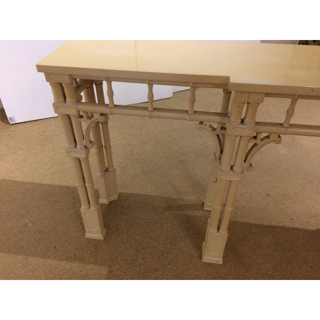 Wood Elegant Long and Narrow Painted Faux Bamboo and Wood Console Table For Sale - Image 7 of 10