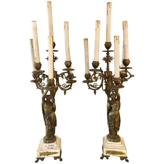 A Pair of 19th Century Neoclassical Style Figural Bronze Candelabras For Sale - Image 12 of 12