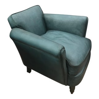 Traditional Teal Leather Club Chair For Sale