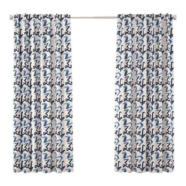 "108"" Blackout Curtain in Navy Ribbon by Angela Chrusciaki Blehm for Chairish For Sale"