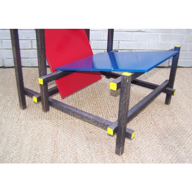 Gerrit Rietveld Style Red & Blue Chair For Sale - Image 9 of 11