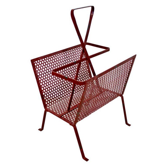 Red Mid-Century Modern Vintage Red Wire Mesh Magazine Rack For Sale - Image 8 of 8