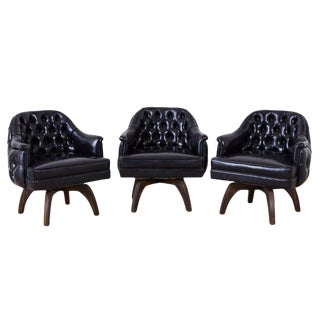 Set of Three Mid Century Tufted Black Leatherette Club Chairs For Sale