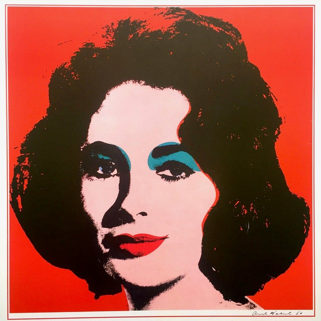 "Andy Warhol Andy Warhol Rare Vintage 1989 Iconic Lithograph Print Framed Italian Exhibition Large Pop Art Poster "" Liz "" 1964 For Sale - Image 4 of 13"