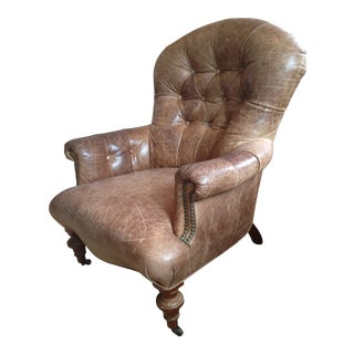 1990s Antique Leather Club Chair For Sale