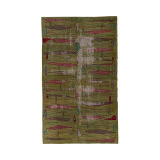 1950s Distressed Turkish Art Deco Rug-5′ × 8′5″ For Sale