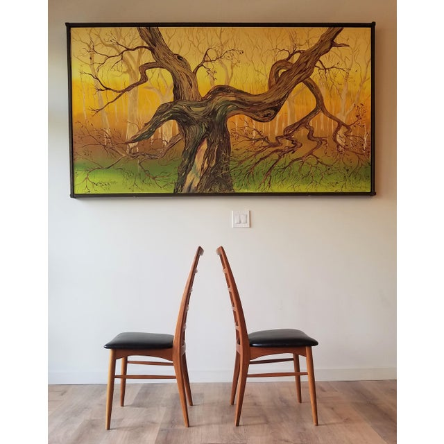 1960s Niels Kofoed for Koefoeds Hornslet Newly Upholstered Teak Ladder Back Dining Chairs - a Pair For Sale - Image 12 of 13