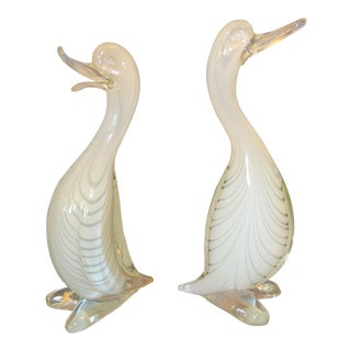 Pair of Stylized Murano Art Glass Ducks Attributed to Archimede Seguso Italy For Sale