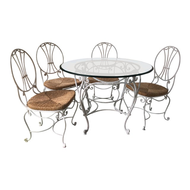 1950s French Country Wrought Iron Dining Set - 5 Pieces For Sale