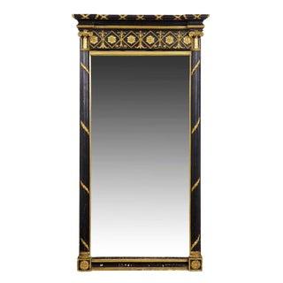 Circa 1815 Regency Period Ebonized Pier Mirror For Sale