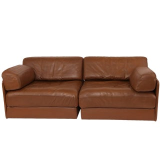 1970s De Sede Convertible Leather Sofa For Sale