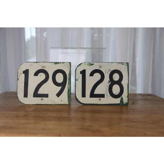 Vintage Metal Signs Numbered 128 & 129 From Airplane Hanger - Set of 2 For Sale - Image 9 of 9