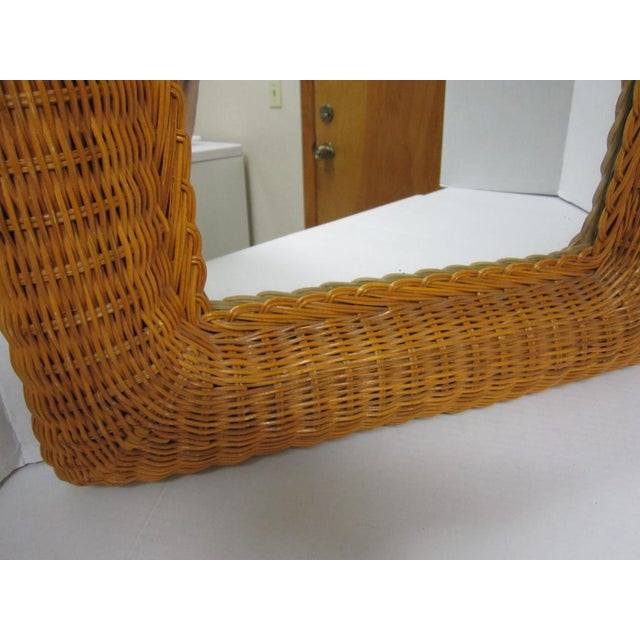 Vintage Lacquer Wicker Rattan Wall Mirror - Image 9 of 11