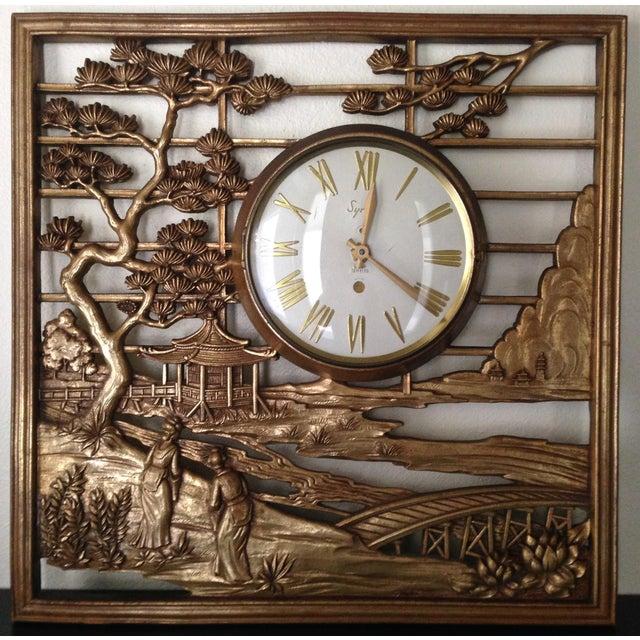 Syroco Mis-Century Chinoiserie Clock - Image 2 of 6