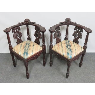 Victorian Style Mahogany Figural Carved Corner Chairs - a Pair Preview