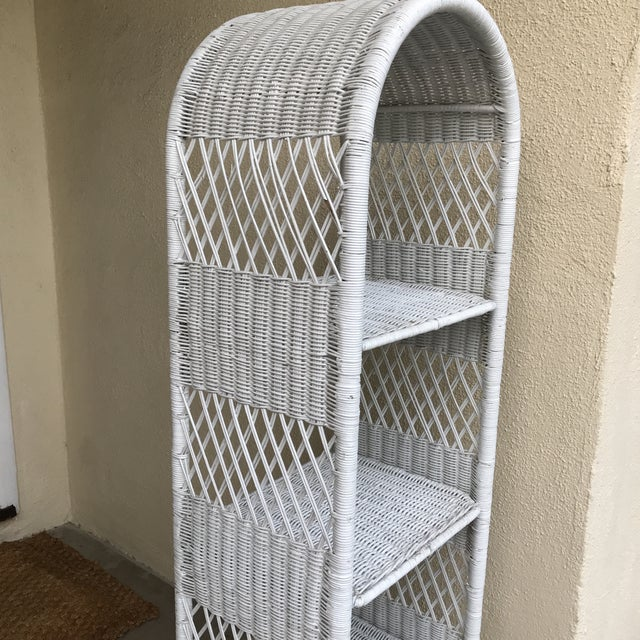 Classic White Wicker Shelf Etagere or Plant Stand For Sale - Image 4 of 10