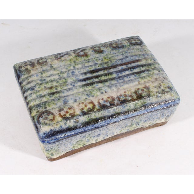 Mid-Century Modern Alvino Bagni for Raymor Italian Mid-Century Blue and Green Dresser Box For Sale - Image 3 of 9