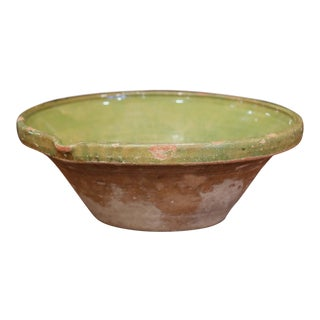 19th Century French Green Glazed Terracotta Decorative Bowl From Provence For Sale
