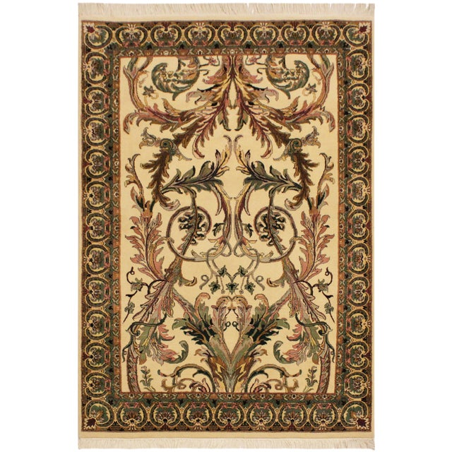 Art Nouveau Bhati Pak-Persian Zelda Ivory/Pink Wool Rug - 4'1 X 6'7 For Sale