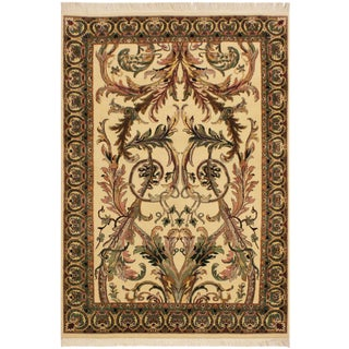 Bhati Pak-Persian Zelda Ivory/Pink Wool Rug - 4'1 X 6'7 For Sale