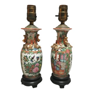 Antique Rose Mandarin and Gold Leaf Lamps - a Pair For Sale